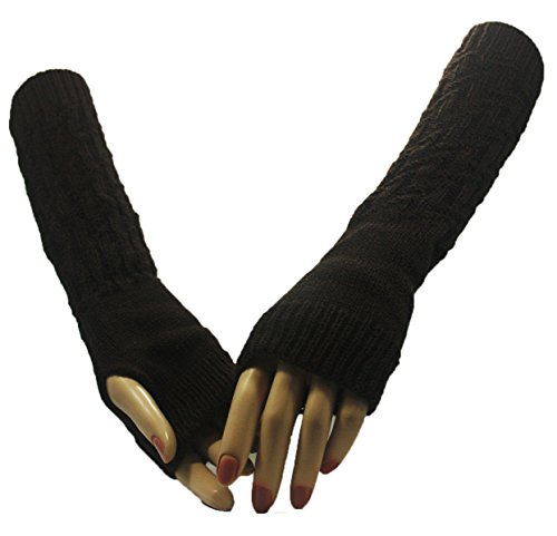 Brown Lightning Bolt Arm Warmer Gloves