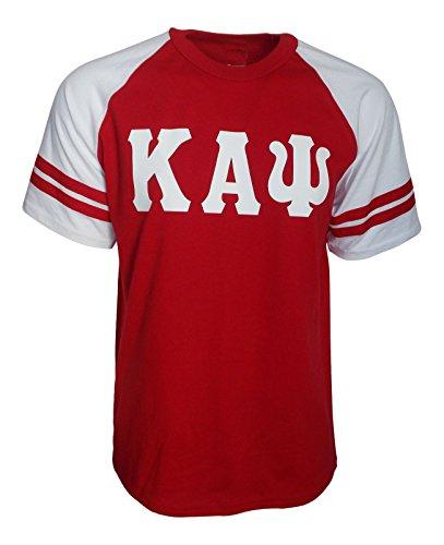 Mega Greek Mens Kappa Alpha Psi Raglan Stripe Sleeve T-shirt Red (Stripe Double Sleeve Tee)