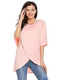 Meaneor Casual Women Round Neck Short Sleeve Cotton Irregular Hem Blouse Tops
