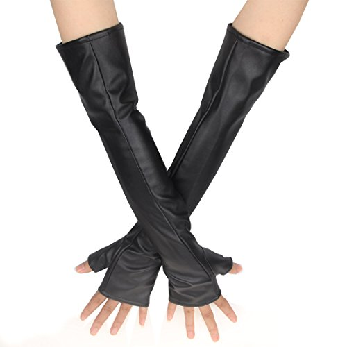 Ecosco Women Long Soft Imitation Leather Gloves Costume Accessory (Fingerless Black)