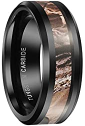 QUEENWISH® 8mm Black Tungsten Carbide Mens Ring Camo Camouflage Hunting Wedding Band Size 6-13