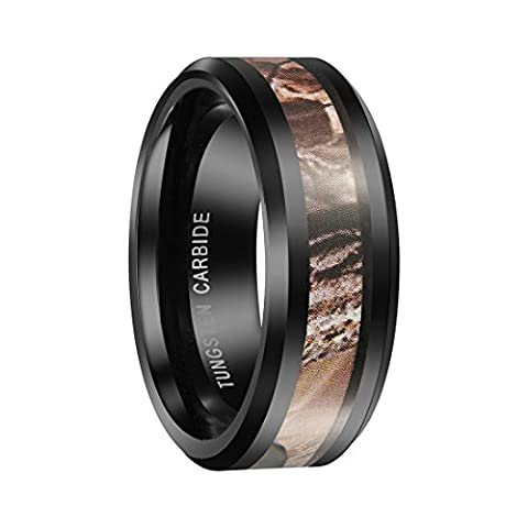 Queenwish 8mm Black Tungsten Carbide Ring Camo Camouflage Hunting Wedding Band Size 9.5 (Tungsten White Gold Ring)