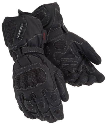 Cortech Scarab Winter Mens Leather Sports Bike Racing Motorcycle Gloves - Black/X-Small ()