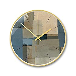 Jiaquhome Silent Pendulum Home Decoration Clock Metal Pendulum Creative dust-Proof Glass,Abstract H,12 inches