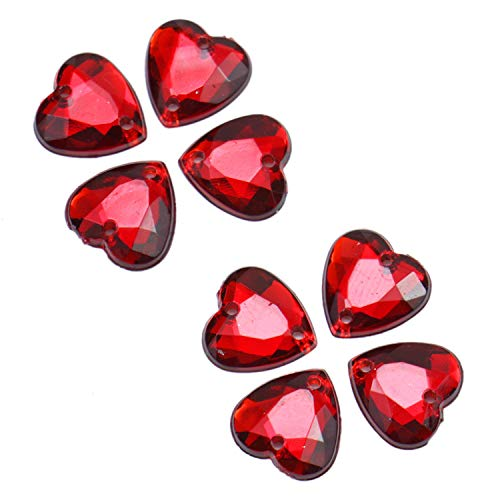 Monrocco 100 Pcs Dark Red Faceted Crystal Glass Heart Beads with Silver Plated Back for DIY Jewelry Craft Making (10mm)