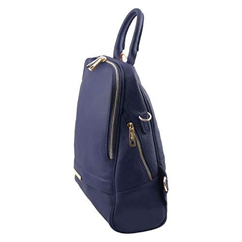 En Piel Azul Tuscany Tlbag Oscuro Para Leather Suave Mochila Mujer wnxgO4UqT
