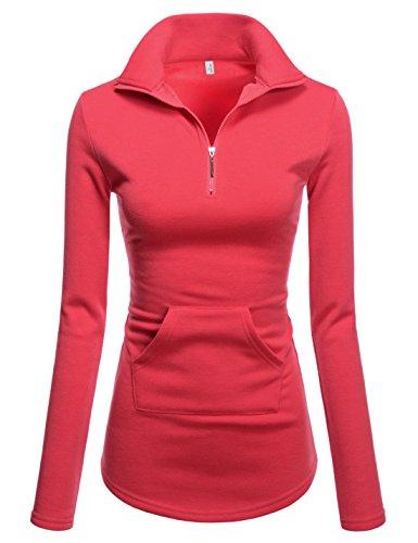 NEARKIN (NKNKWTT791 Women Soft Fleece Lined Comfy Slim Cut Upturned Collar Zipup Tshirts HOTPINK US M(Tag Size L)
