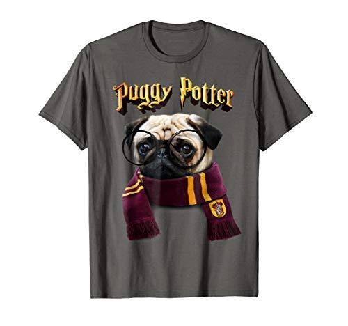 Puggy Potter magic wizard Pug Shirt - Funny Pug Tshirt (Harry Potter T Shirt Kids)