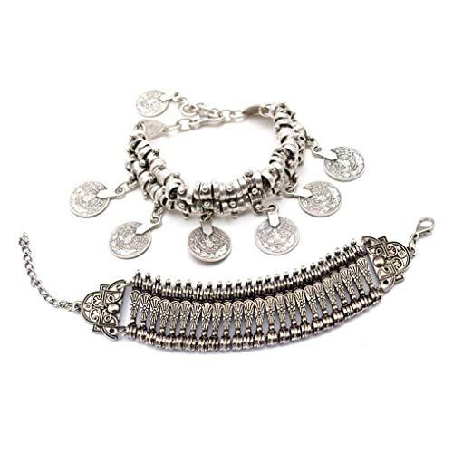(Zealmer Boho Bracelet Set Bohemian Coin Bracelet Tribal Statement Design Hand Bracelet 2 Types)
