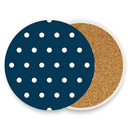 Jugbasee Prussian Blue Navy Blue & White Polka Dots Ceramic Coaster for Drinks 4