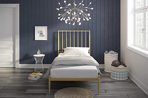 Novogratz Nicole Metal Bed with Storage, Gold, Twin