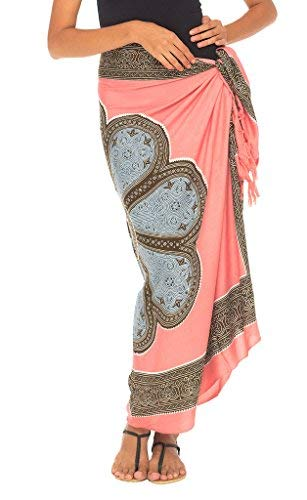 - SHU-SHI Womens Beach Swimsuit Cover Up Flower Sarong Wrap with Coconut Clip Coral/Grey