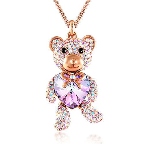 - GEORGE · SMITH ♥Brother Bear♥ Animal Necklace Purple Heart Teddy Pendant Necklace with Crystals from Swarovski, Birthday Gifts for Daughter Teen Girls Girlfriend