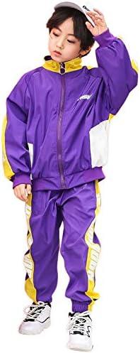 キッズ ダンス衣装 ヒップホップ ダンスウェア HIPHOP 男の子 女の子 ジャズダンス ステージ衣装 練習着 演出服 ジュニア 男女兼用 お揃い 応援団 体操服 発表会 練習着 野球 運動着 ((パープル)パンツ, 130)