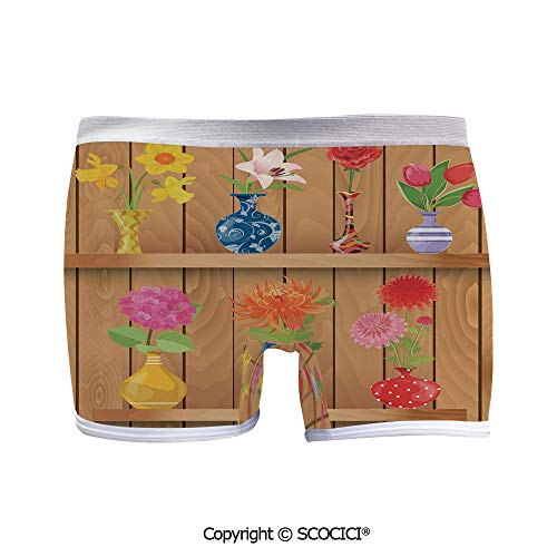 - SCOCICI Women Breathable Boxer Briefs Glass Vases with Colorful Comfort Choice