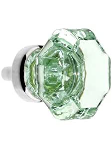 Octagonal Pale Green Glass Knob With Brass Base in Polished Nickel