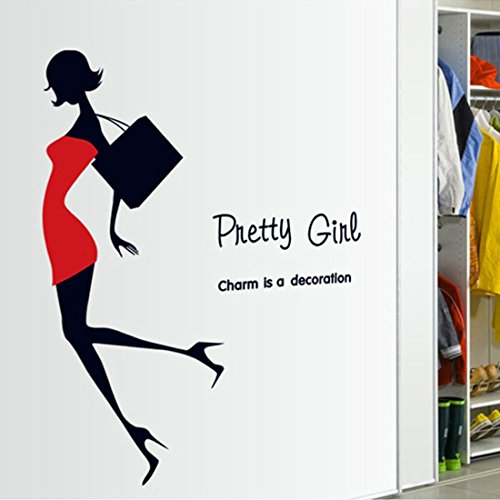 Wall Sticker Pretty Girl Miniskirt Heels Shoulder Bag Paper Home Decal Removable Wall Vinyl Living Room Bedroom PVC Art Picture Murals DIY Stick for Adults Teems Kids Nursery Baby