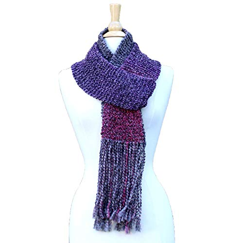 Purple Hand Knit Scarf with Long ()