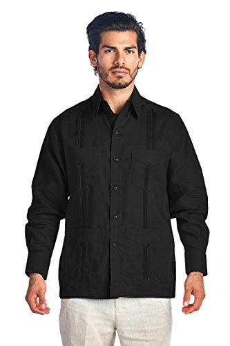 Mojito Collection (Mojito Collection Long Sleeve Ramie Linen Guayabera (Medium, Black))