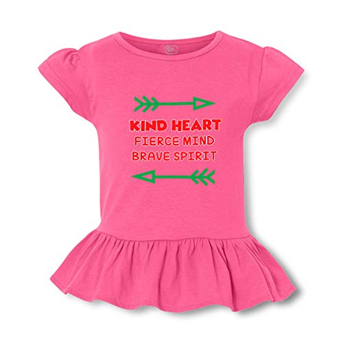 Kind Heart Fierce Mind Brave Spirit Short Sleeve Toddler Cotton Girly T-Shirt Tee - Hot Pink, 2T ()