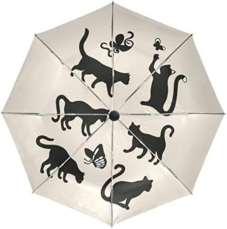 Chovy 折りたたみ傘 軽量 自動開閉 晴雨兼用 レディース 日傘 UVカット 遮光 ワンタッチ メンズ 黒猫 蝶 可愛い かわいい 猫柄 雨傘 傘 晴雨傘 折り畳み 8本骨 遮熱 丈夫 耐風撥水 収納ポーチ付き プレゼント