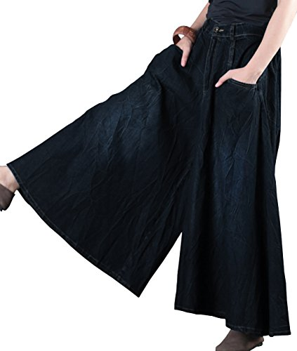 YESNO PF6 Women Wide Leg Denim Cropped Pants Flare Pants Divided Skirt 100% Cotton Pleat Veins Elastic Waist/Pocket