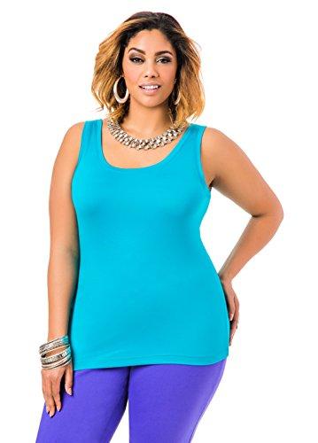 Ashley Stewart Women's Plus Size Signature Tank - Size: 14/16, Color: Capri Breeze