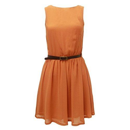 ENVY FRANKI de destornilladores para mujer de Gasa de baño MINI BODYCON circuito de fiesta vestidos ajustados de la liga de encaje Orange-Sleeveless Skater