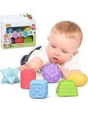 Baby Blokken Zachte Bouwstenen Baby Speelgoed Bijtringen Speelgoed Educatief Squeeze Spelen met Cijfers Dieren Vormen Texturen 6 Maanden en hoger 6 STKS