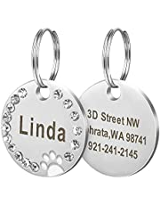 Didog Stainless Steel Custom Engraved Pet ID Tags,Round Crystal Rhinestones Tags with Pretty Paw Print,Double-Side Laser Engraving Tags Fit Small Medium Large Dogs and Kittens