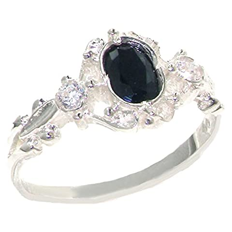 925 Sterling Silver Natural Sapphire and Diamond Womens Trilogy Ring - Sizes 4 to 12 Available - Sterling Silver Diamond Antique Ring