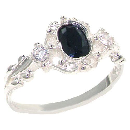 925 Sterling Silver Natural Sapphire and Diamond Womens Trilogy Ring Sizes 4 to 12 Available