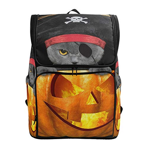 School Backpack Halloween Pirate Cat Large Capacity Bag for Travel Outdoor Sports Boys Girls Teenage