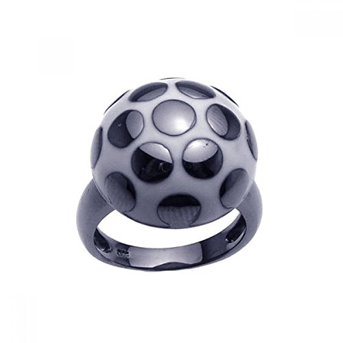 Sterling Silver Black Rhodium Plated White & Black Enamel Mushroom Ring Size 9
