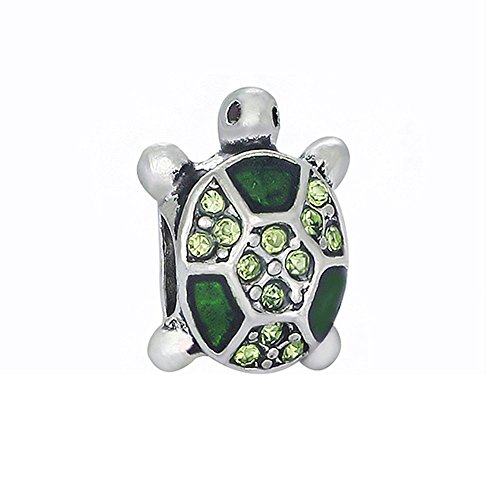 Bling Stars Animal Charms Sea Turtle Bead with Green Crystal for Snake Chain Bracelets
