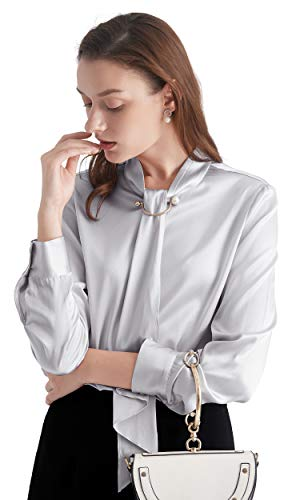 - LilySilk Silk Tie Blouse Long Sleeve Feminine Stand Collar Silk Blouses for Women 19 Momme (Silvergray, L/12)