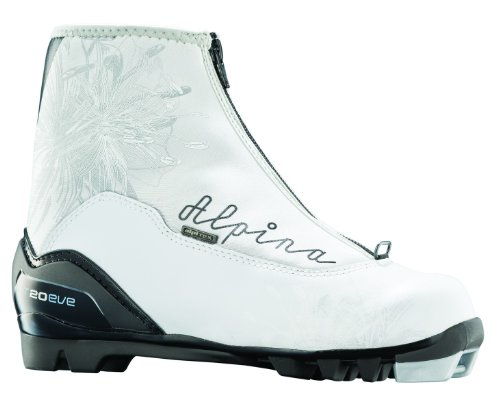 Alpina Women's T20 Eve Cross-Country Nordic Touring Ski Boots with Zippered Lace Cover, Silver/Black, 38