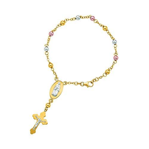 Or jaune 14 carats 3 7.0 en polonais tons Chaîne perle fermoir en forme de croix avec Figurine Emblématique