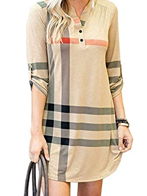 NiuBia Womens Plaid Shirts Striped Tunic Dresses Roll-Up 3/4 Sleeve V Neck Button Henley T Shirt Midi Dress