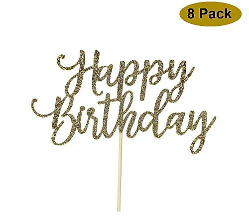 8 Pack Happy Birthday Cake Topper, 1st First Happy Birthday Cupcake Topper, Glitter Gold -
