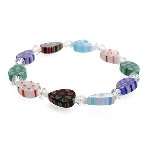 (skyllc Teardrop Shape Colorful Murano Glass Beads Spaced Transparent Crystal Glass Beads Elastic Cord Bracelet Chain Size 1410mm)