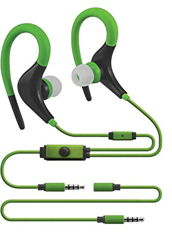 (Sentry Sport Series Premium Wrap Around Buds with Mic, Green, H5002)