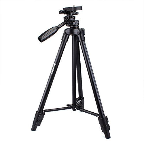 SVBONY 49 inches Travel Tripod Portable Aluminum Lightweight DSLR Cameras Video Spotting Scope Tripod for Outdoor Capturing Professional Photographs