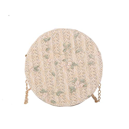 - Womens Small Round Bag Straw Shoulder Messenger Bag Ladies Teen Girls Shopping Daily Satchels Phone Cosmetic Crossbody Handbag (White)