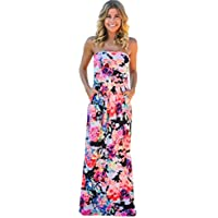 Hot Sale ! Beautiful Womens Bandeau Holiday Long Dress, Ninasill Exclusive Ladies Summer Floral Maxi Dress (XL, Multicolor)