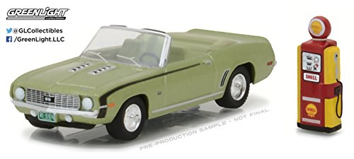 1969 Chevrolet Camaro Convertible Green with Vintage Gas Pump The Hobby Shop Series 1 1/64 Diecast Model Car by Greenlight 97010 B (Hobby Pump)
