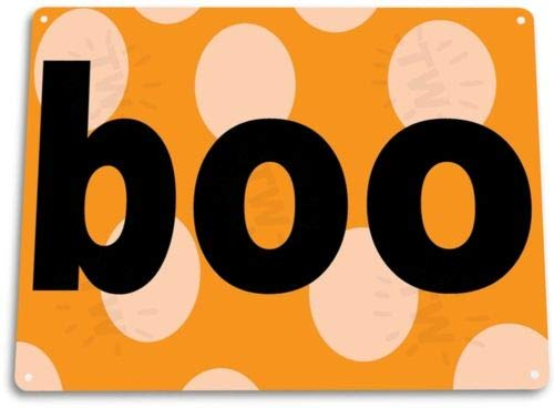 TIN Sign Boo Halloween Tin Metal Sign Holiday Ghost Costume Decor ()