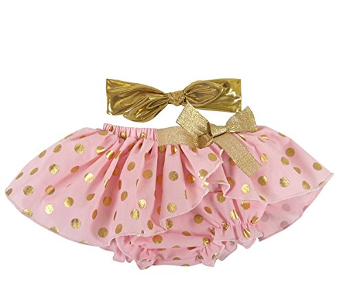 Stephan Baby Birthday Girl Gold Shimmer Dot Diaper Cover Tutu and Lame Headband (Best Stephan Baby The First Years Gift For One Year Old Girls)