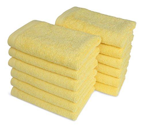 SALBAKOS Luxury Hotel & Spa Turkish Cotton 12-Piece Eco-Friendly Washcloth Set Bath, Yellow by SALBAKOS (Image #2)
