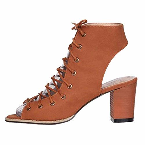 QIYUN.Z Atractivas Del Verano Nuevas Mujeres Hueco De Encaje Hasta Las Sandalias De Punta Abierta Bloque Ocasional Zapatos Con Tacones Marron